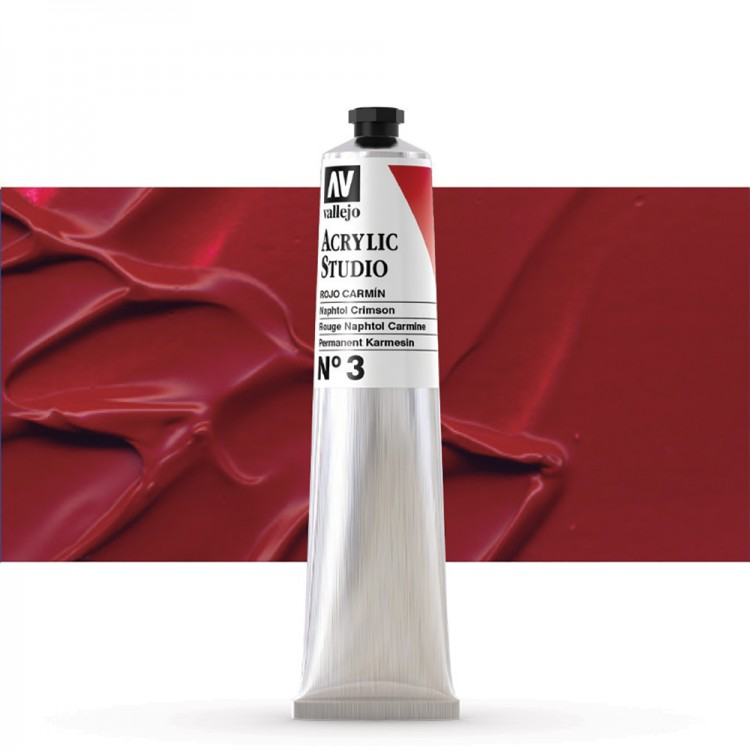 Vallejo : Studio Acrylic Paint : 58ml : Naphthol Crimson