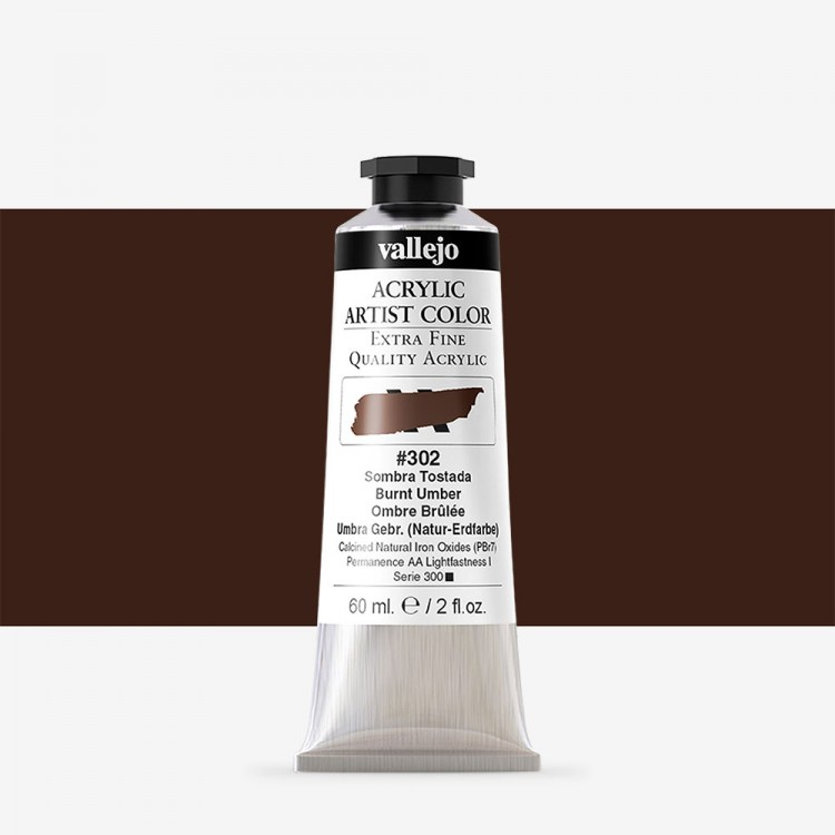 Vallejo : Artist Acrylic Paint : 60ml : Burnt Umber