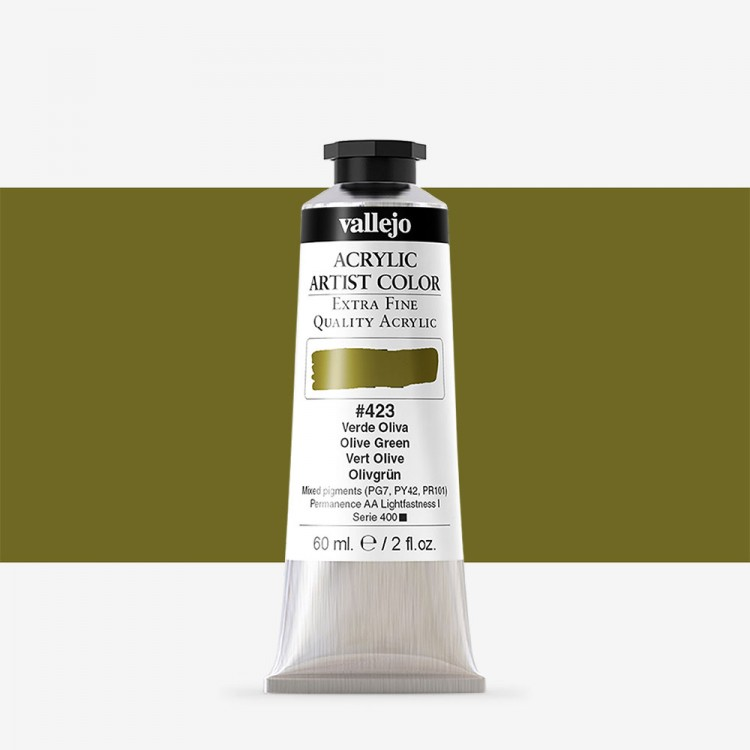 Vallejo : Artist Acrylic Paint : 60ml : Olive Green