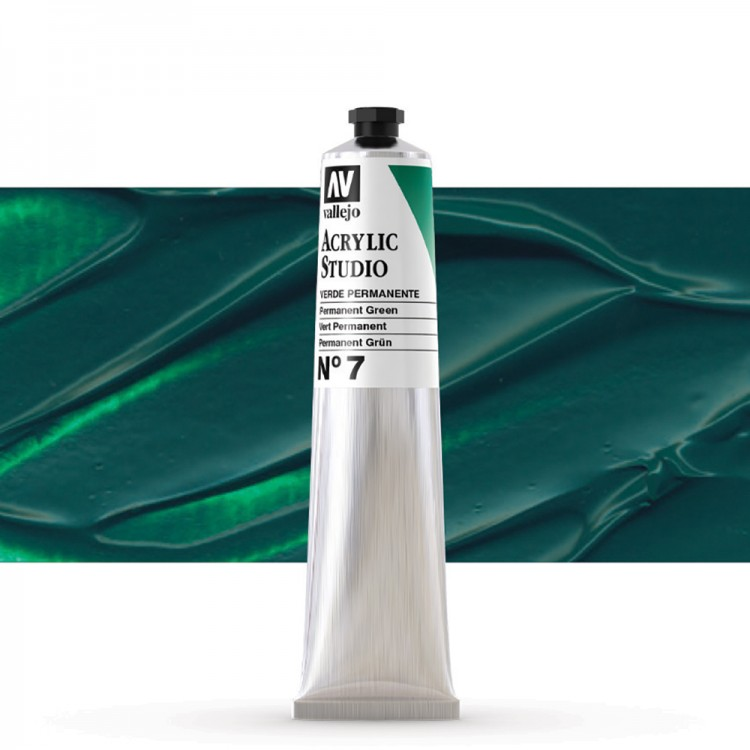 Vallejo : Studio Acrylic Paint : 58ml : Permanent Green