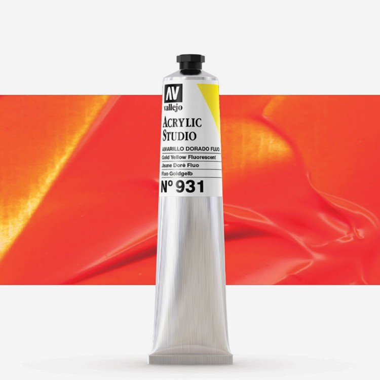 Vallejo : Studio Acrylic Paint : 58ml : Gold Yellow Fluorescent