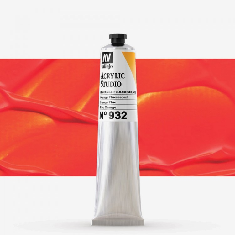 Vallejo : Studio Acrylic Paint : 58ml : Orange Fluorescent