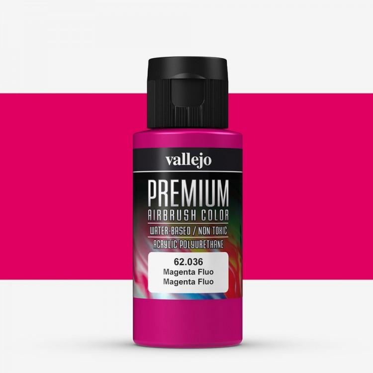 Vallejo : Premium Airbrush Paint : 60ml : Magenta Fluorescent