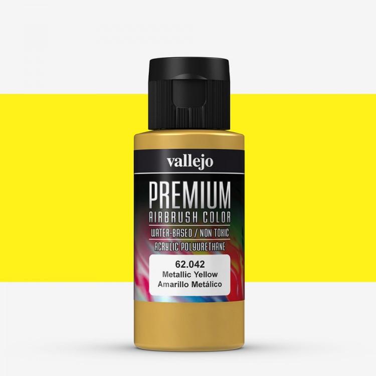 Vallejo : Premium Airbrush Paint : 60ml : Metallic Yellow