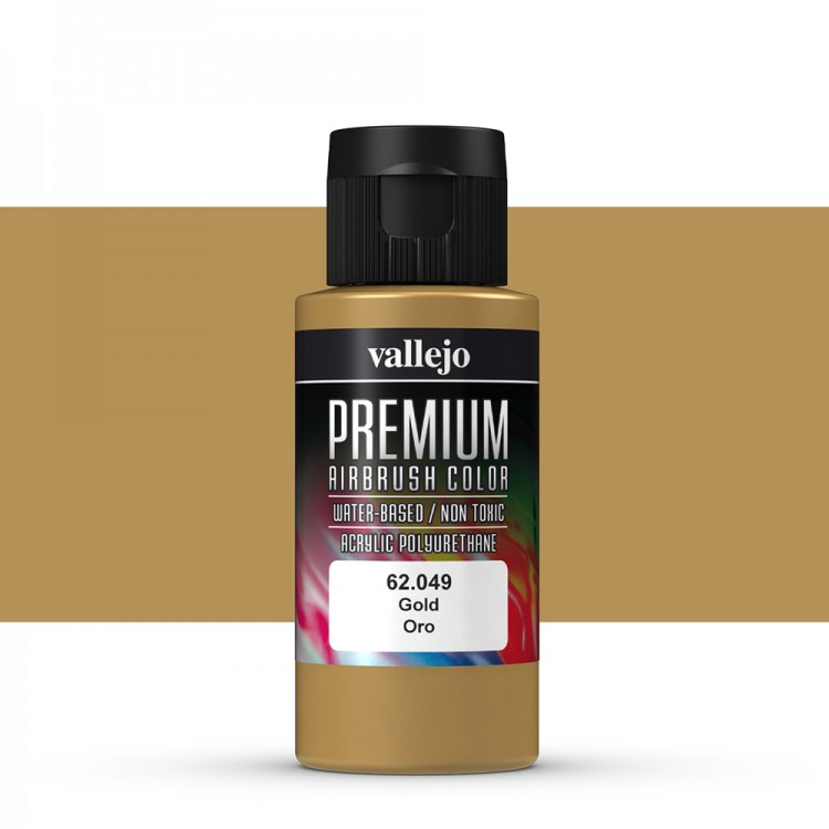 Vallejo : Premium Airbrush Paint : 60ml : Metallic Gold