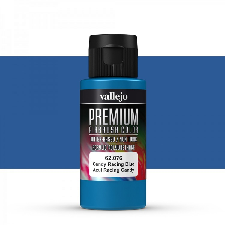 Vallejo : Premium Airbrush Paint : 60ml : Candy Racing Blue Transparent
