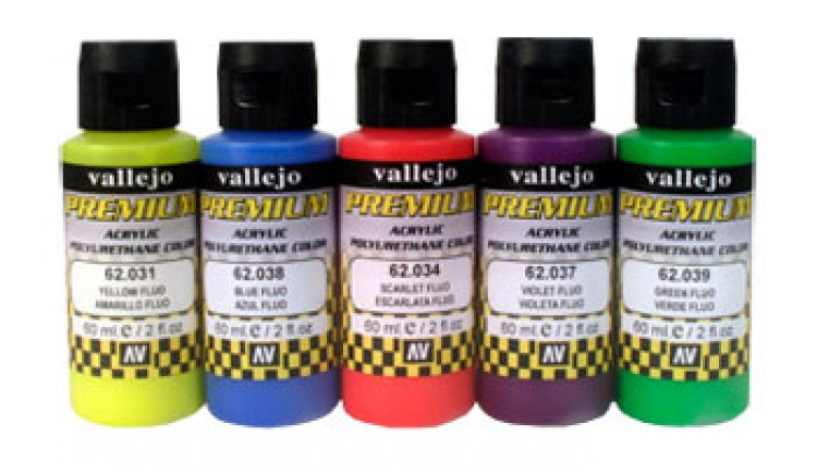 Vallejo : Premium Airbrush Paint : Set of 5 : Fluorescent Colours