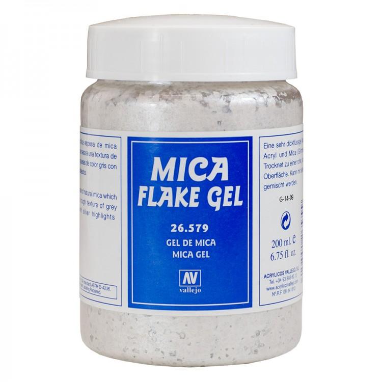 Vallejo : Acrylic Mica Flake Gel Medium : 200ml