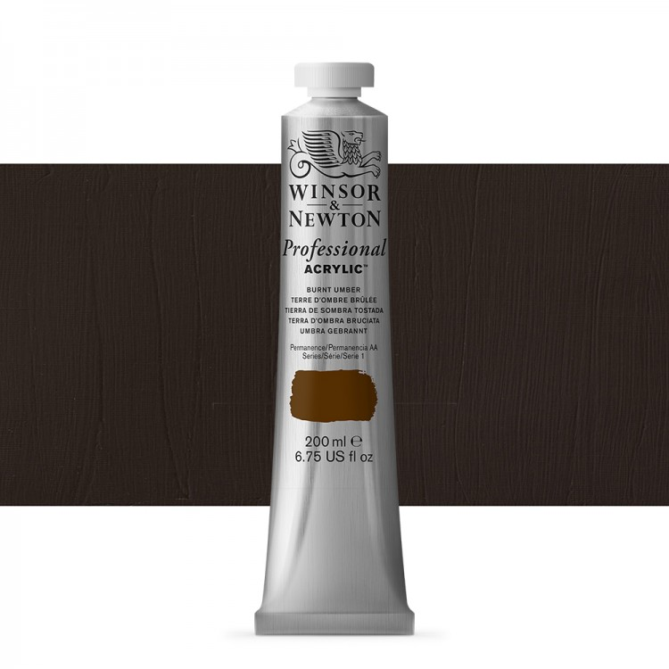 Winsor & Newton : Professional Acrylic Paint : 200ml : Burnt Umber