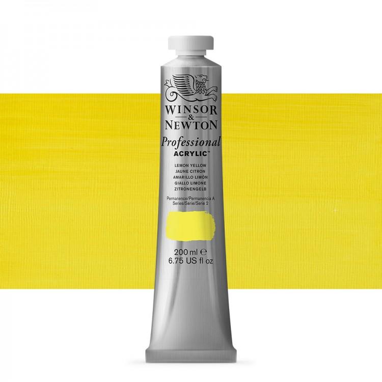 Winsor & Newton : Professional Acrylic Paint : 200ml : Lemon Yellow