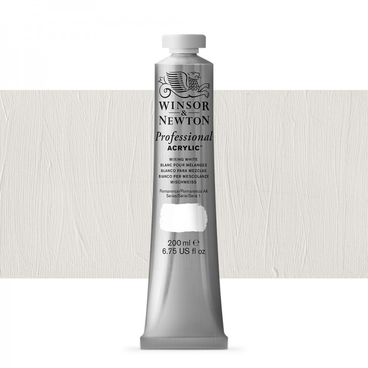 Winsor & Newton : Professional Acrylic Paint : 200ml : Mixing White