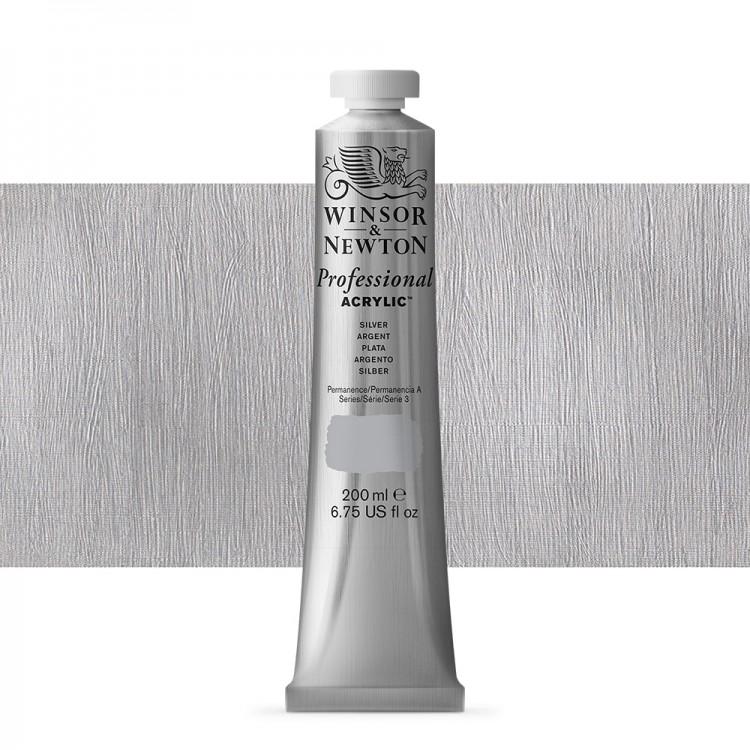 Winsor & Newton : Professional Acrylic Paint : 200ml : Silver