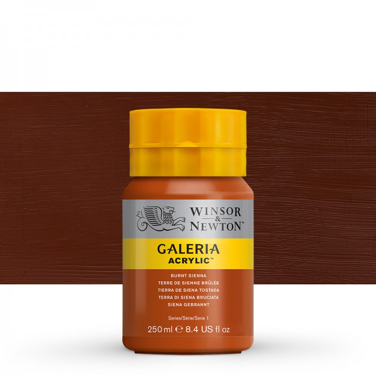 W&N : Galeria : Acrylic Paint : 250ml : Burnt Sienna