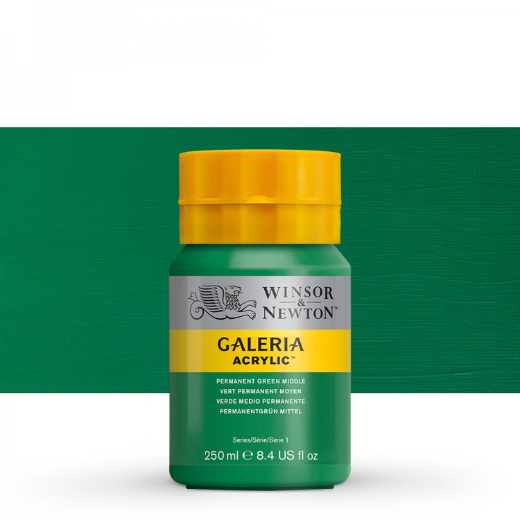W&N : Galeria : Acrylic Paint : 250ml : Permanent Green Middle
