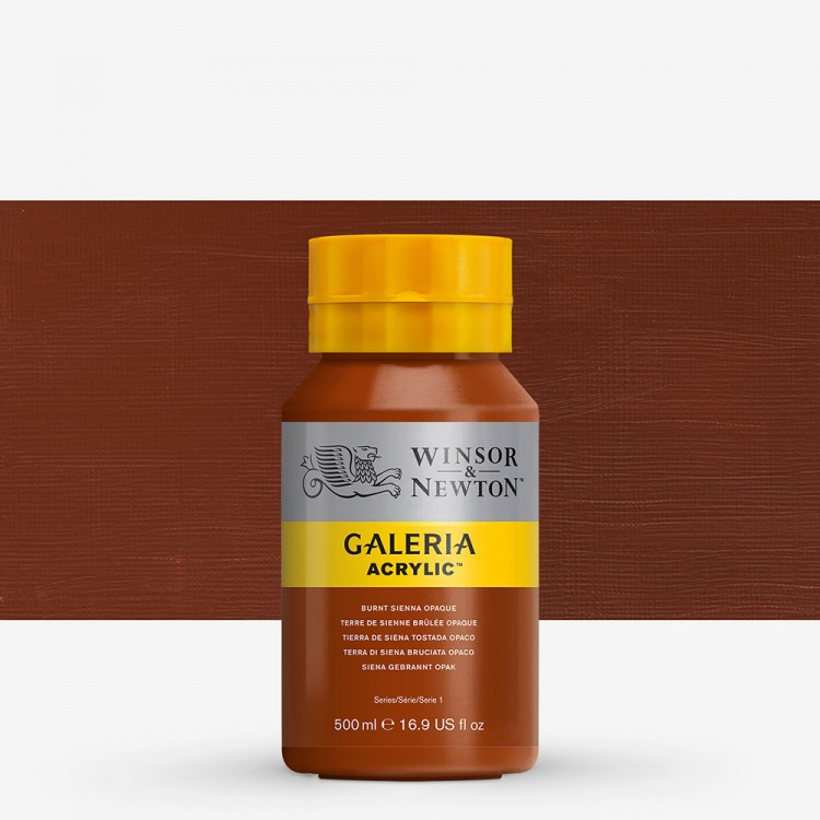 W&N : Galeria : Acrylic Paint : 500ml : Burnt Sienna Opaque