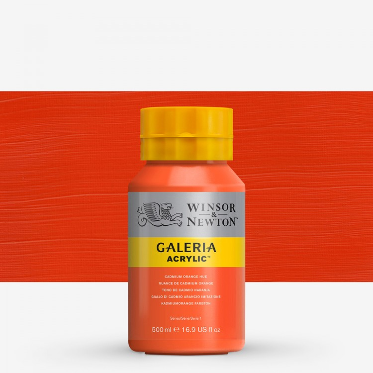 W&N : Galeria : Acrylic Paint : 500ml : Cadmium Orange Hue