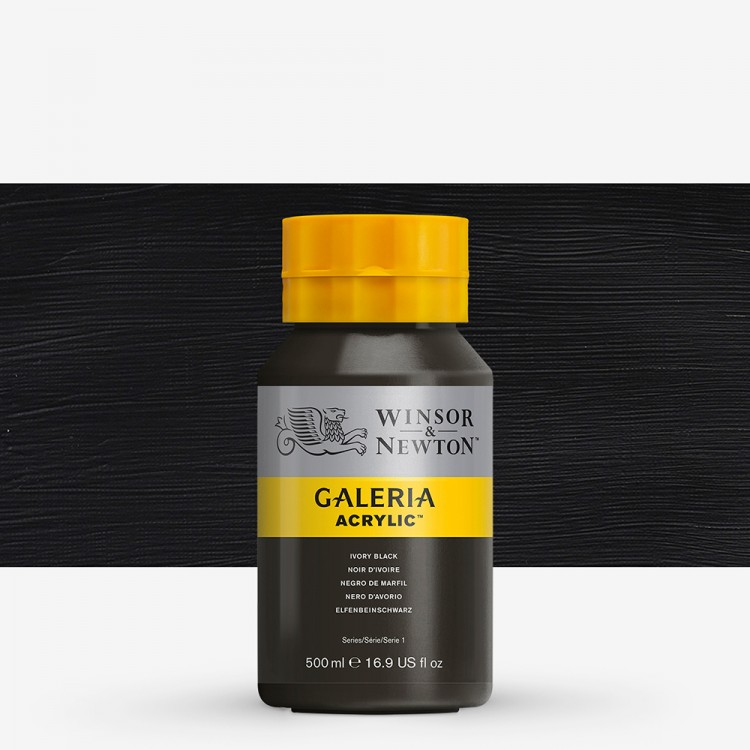 W&N : Galeria : Acrylic Paint : 500ml : Ivory Black