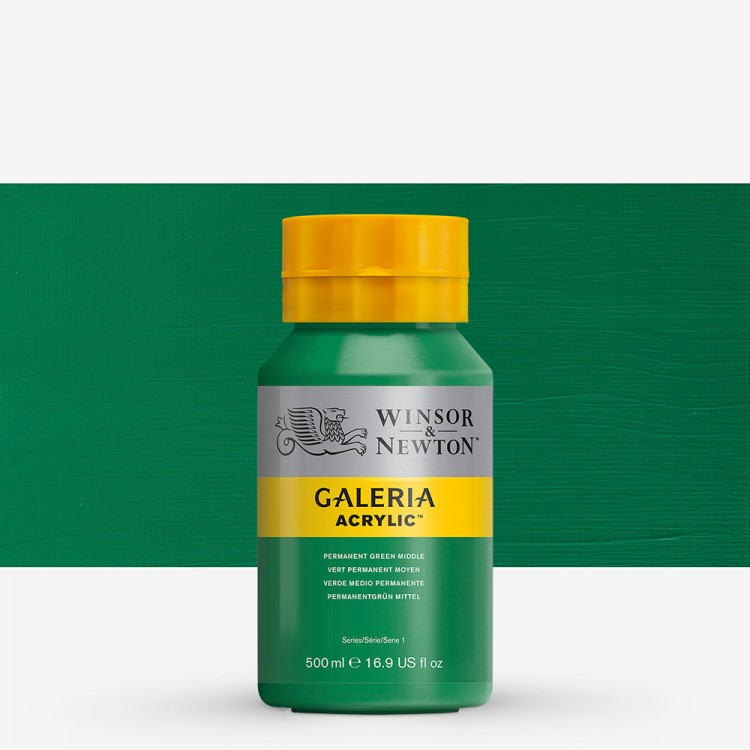 W&N : Galeria : Acrylic Paint : 500ml : Permanent Green Middle