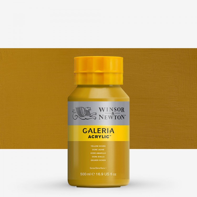 W&N : Galeria : Acrylic Paint : 500ml : Yellow Ochre
