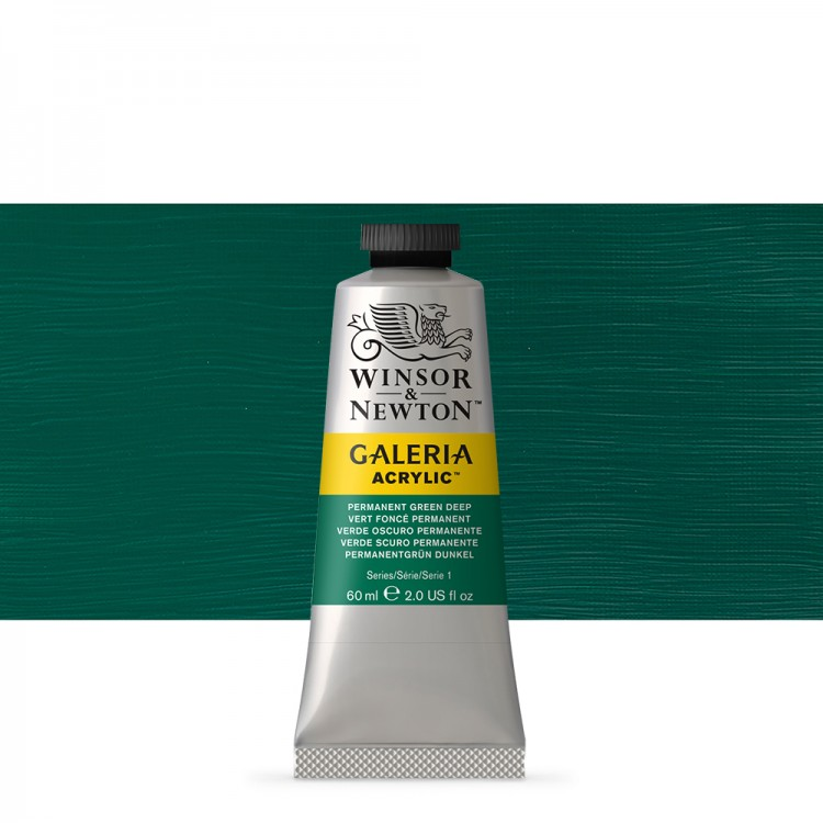 W&N : Galeria : Acrylic Paint : 60ml : Permanent Green Deep