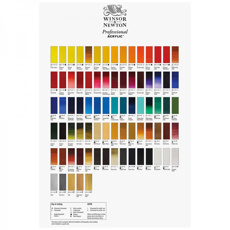 Winsor & Newton : Acrylic Hand Painted Colour Chart