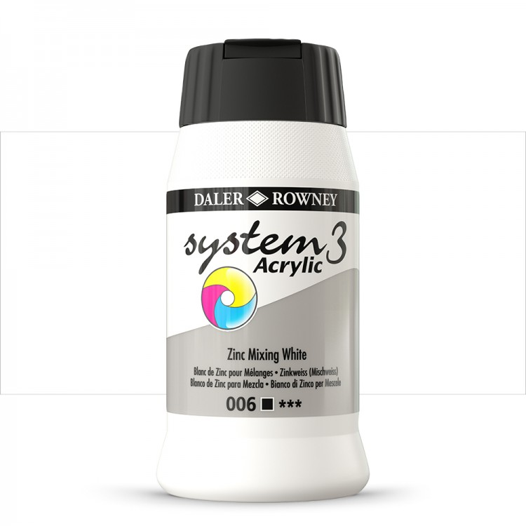 Daler Rowney : System 3 Acrylic Paint : 500ml : Mixing White