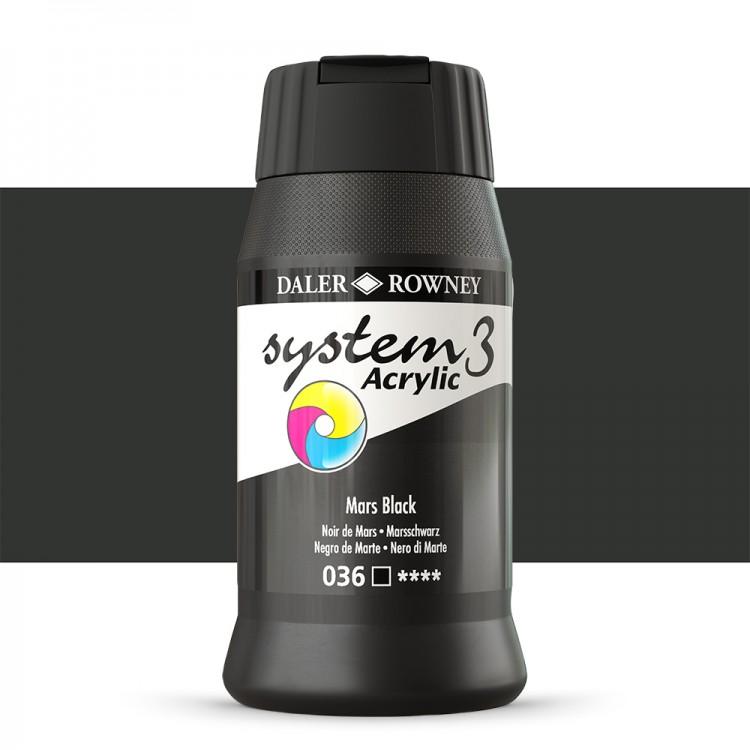 Daler Rowney : System 3 Acrylic Paint : 500ml : Mars Black