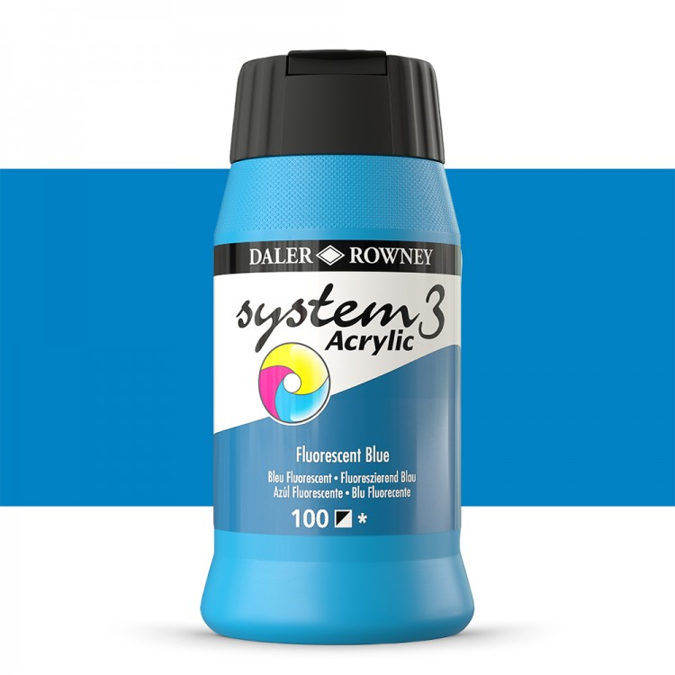 Daler Rowney : System 3 Acrylic Paint : 500ml : Fluorescent Blue
