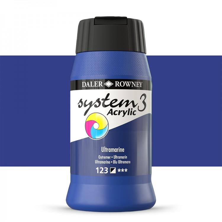 Daler Rowney : System 3 Acrylic Paint : 500ml : Ultramarine