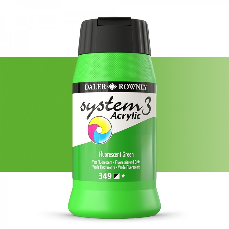 Daler Rowney : System 3 Acrylic Paint : 500ml : Fluorescent Green