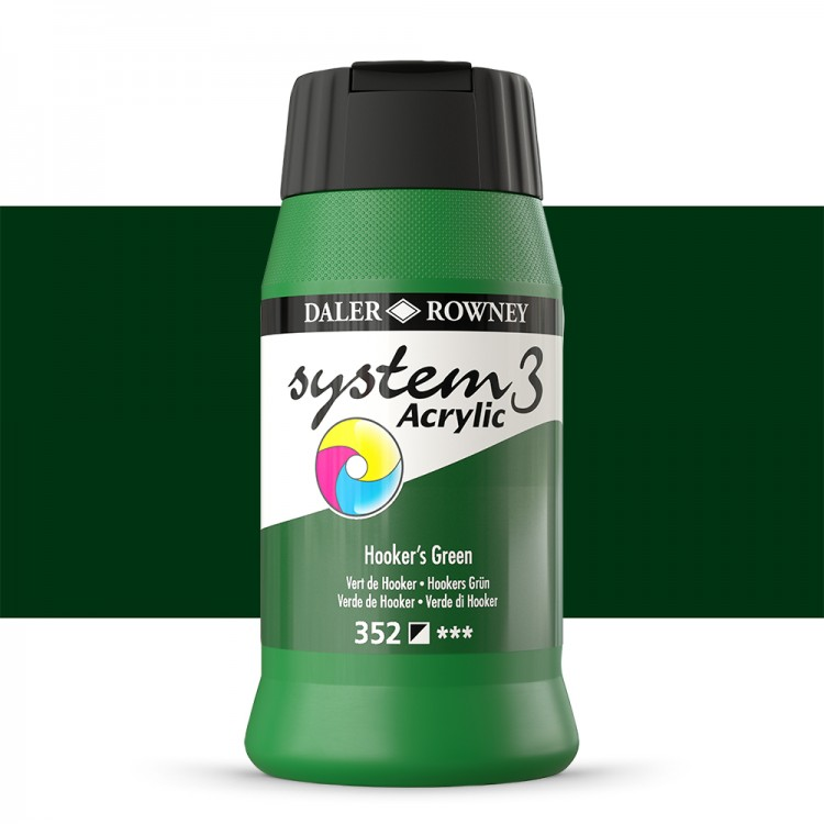 Daler Rowney : System 3 Acrylic Paint : 500ml : Hookers Green