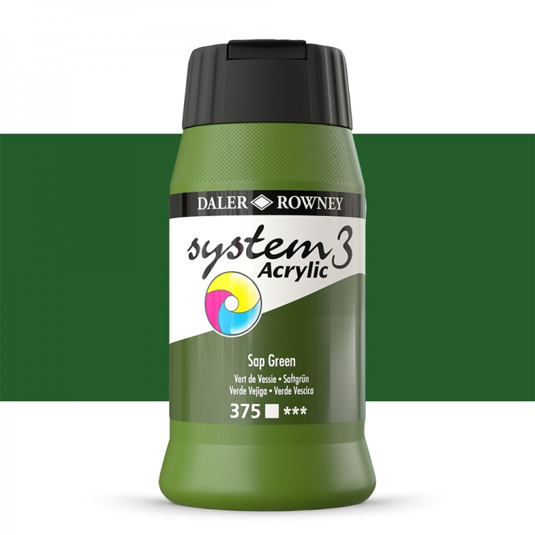 Daler Rowney : System 3 Acrylic Paint : 500ml : Sap Green