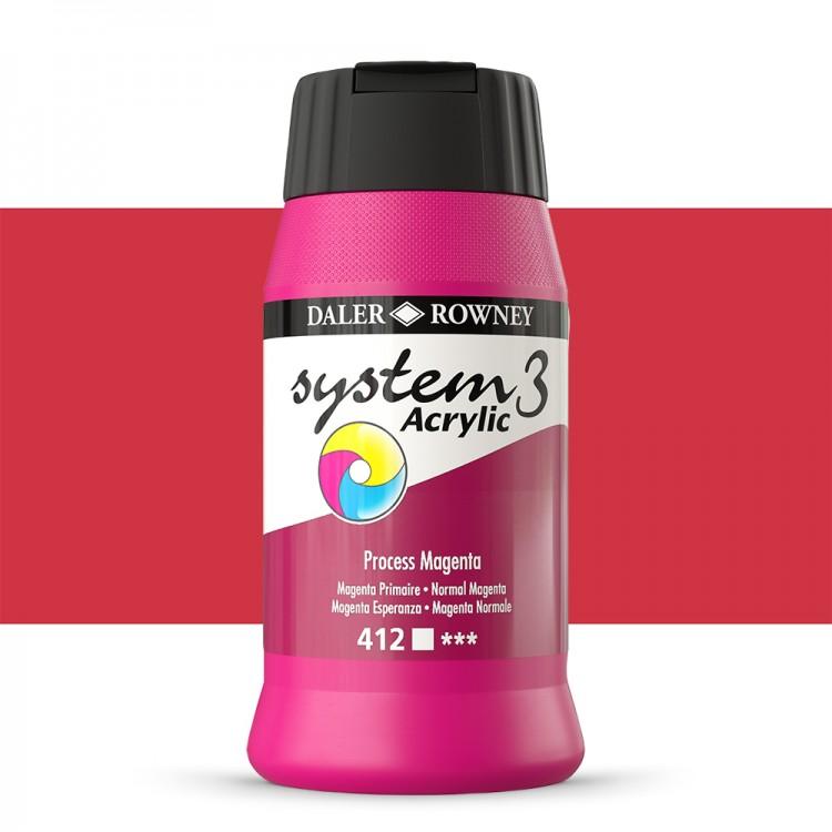 Daler Rowney : System 3 Acrylic Paint : 500ml : Process Magenta