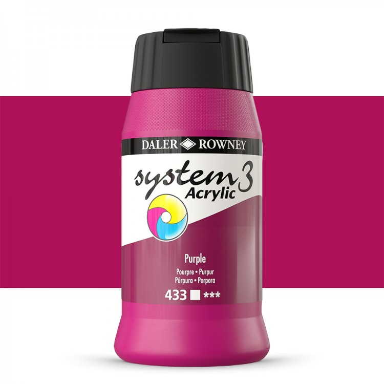 Daler Rowney : System 3 Acrylic Paint : 500ml : Purple