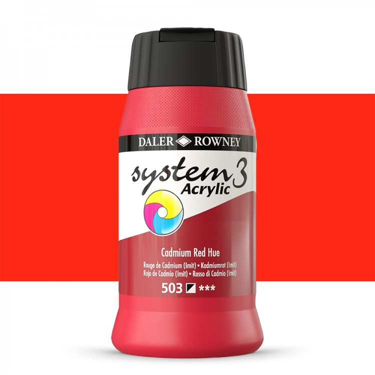 Daler Rowney : System 3 Acrylic Paint : 500ml : Cadmium Red Hue