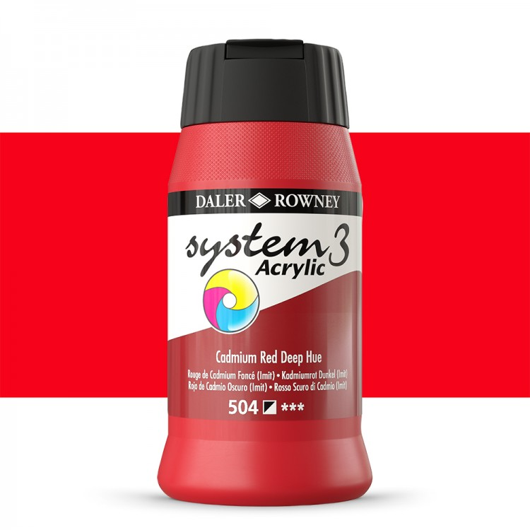 Daler Rowney : System 3 Acrylic Paint : 500ml : Cadmium Red Deep Hue