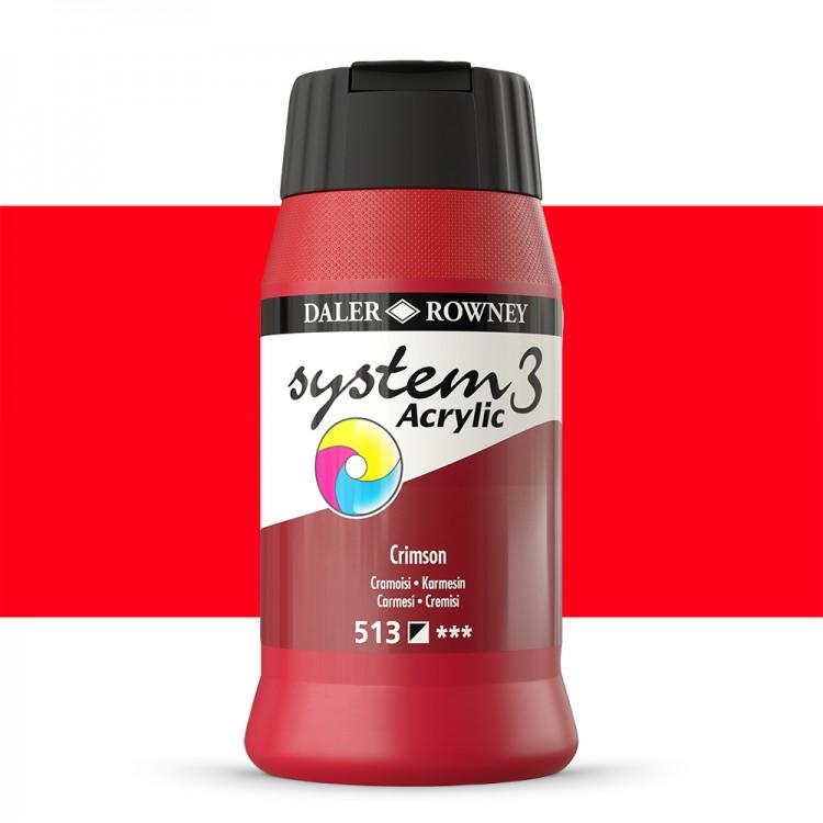 Daler Rowney : System 3 Acrylic Paint : 500ml : Crimson