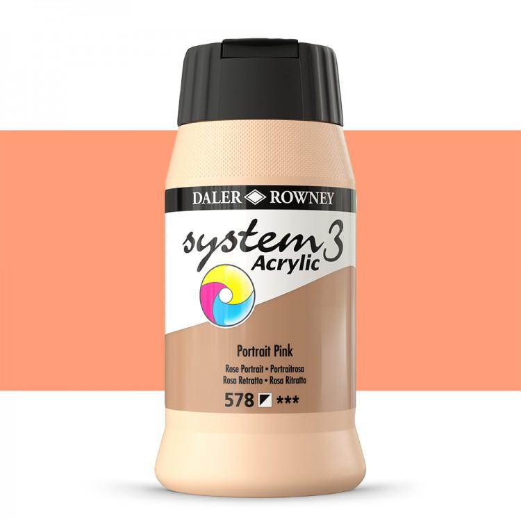 Daler Rowney : System 3 Acrylic Paint : 500ml : Flesh Tint