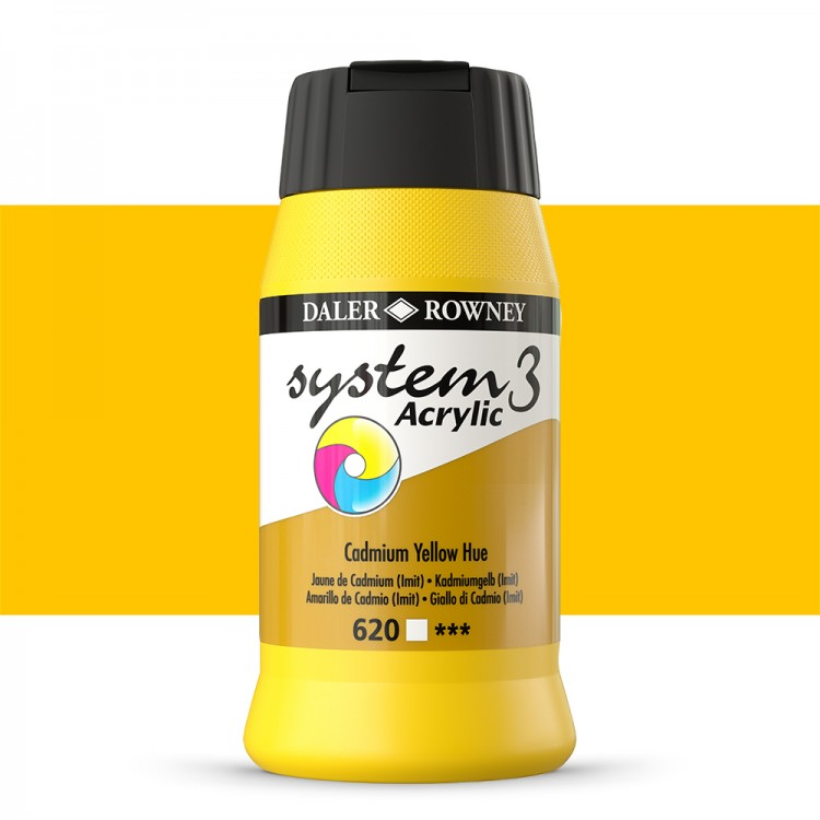 Daler Rowney : System 3 Acrylic Paint : 500ml : Cadmium Yellow Hue