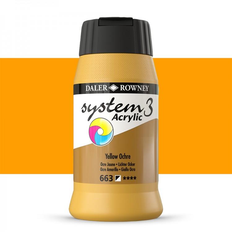 Daler Rowney : System 3 Acrylic Paint : 500ml : Yellow Ochre