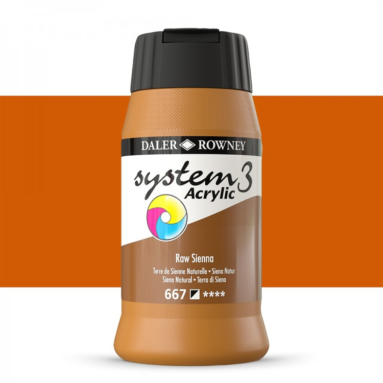Daler Rowney : System 3 Acrylic Paint : 500ml : Raw Sienna
