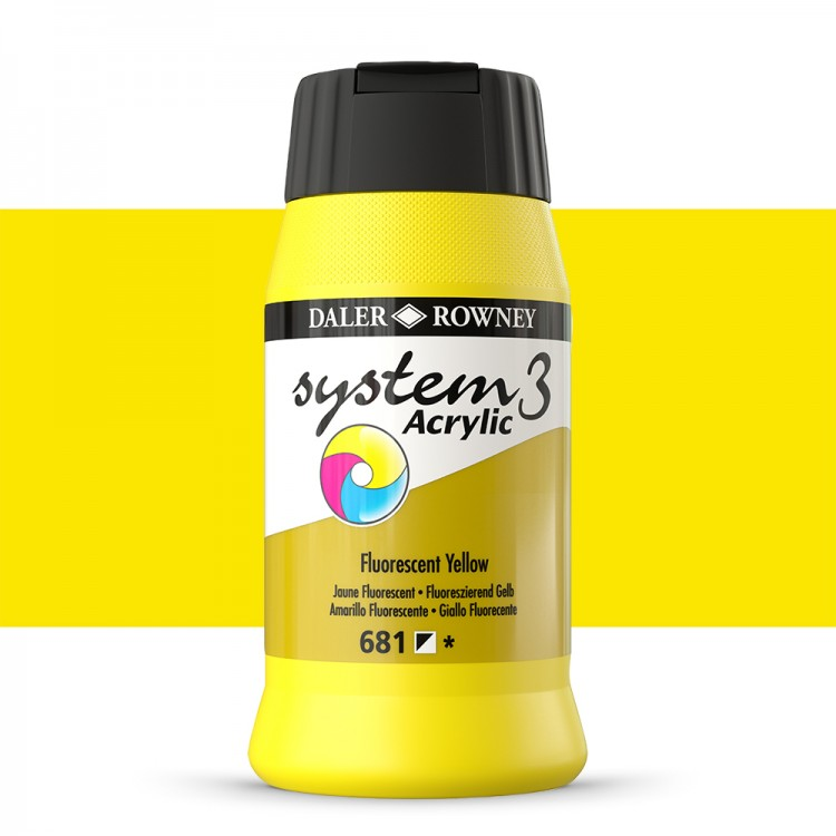 Daler Rowney : System 3 Acrylic Paint : 500ml : Fluorescent Yellow