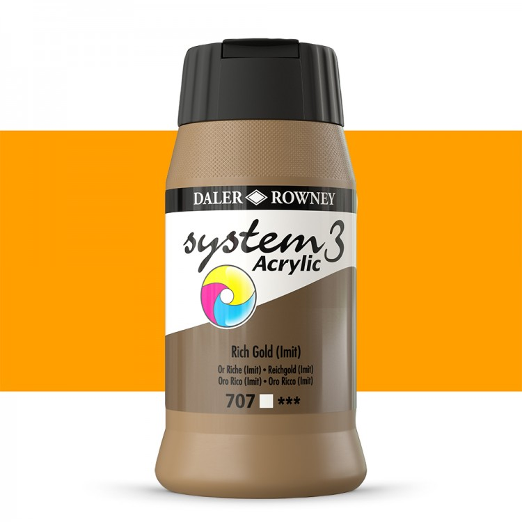 Daler Rowney : System 3 Acrylic Paint : 500ml : Rich Gold Hue