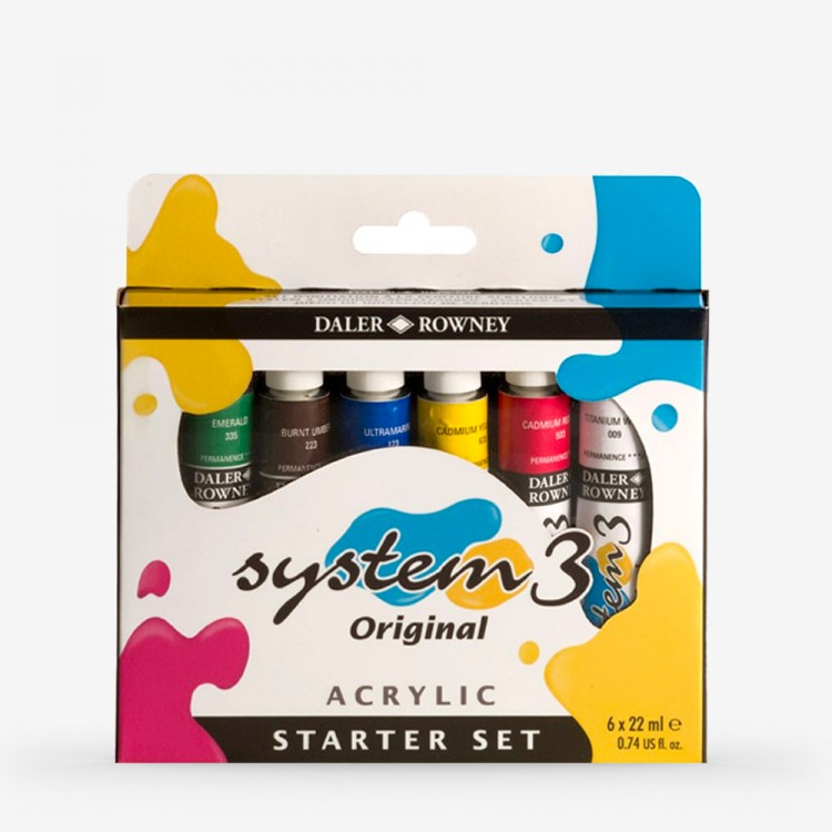 Daler Rowney : System 3 Acrylic Paint : Starter Set : 22ml : Set of 6