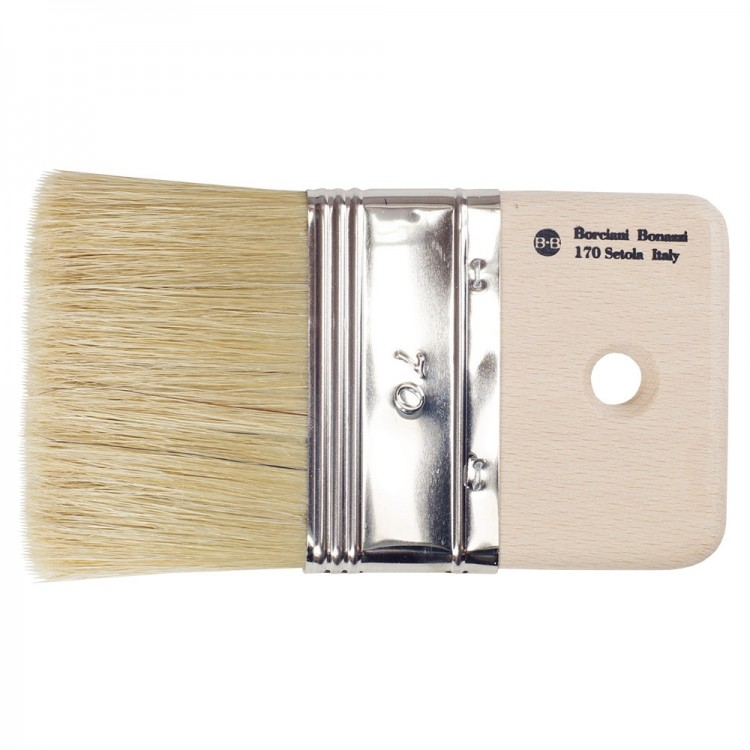 Borciani e Bonazzi : Medium Length White Bristle Mottler Brush Depth 10mm : 70 mm