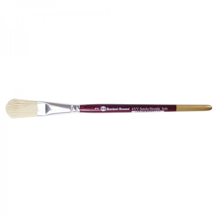Borciani e Bonazzi : Oil/Acrylic Brush : Flat Ferrule Domed White Bristle : # 2