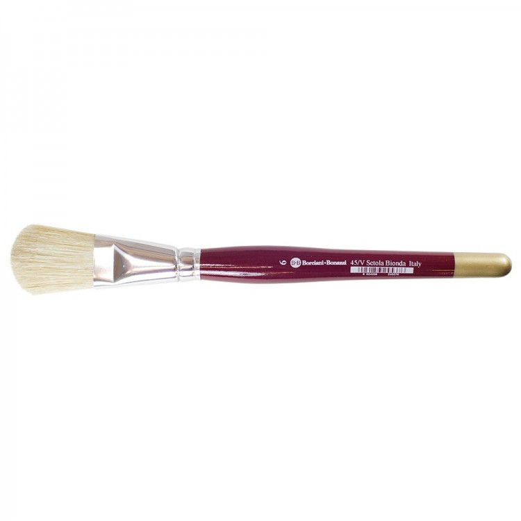 Borciani e Bonazzi : Oil/Acrylic Brush : Flat Ferrule Domed White Bristle : # 6