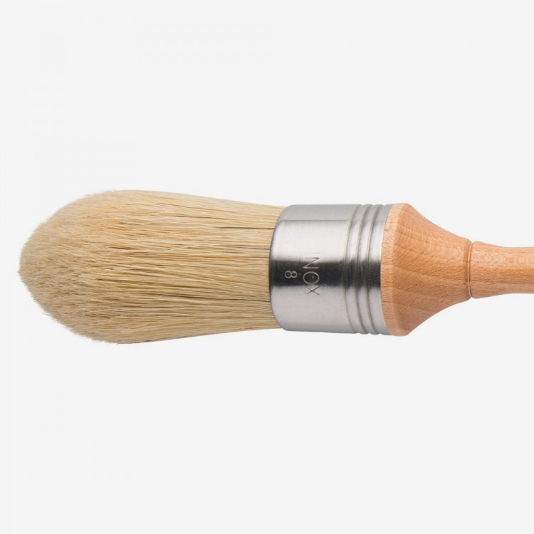 Escoda : Pointed Lily Bristle Round Brush : No.8. : Stainless Steel Ferrule 36mm