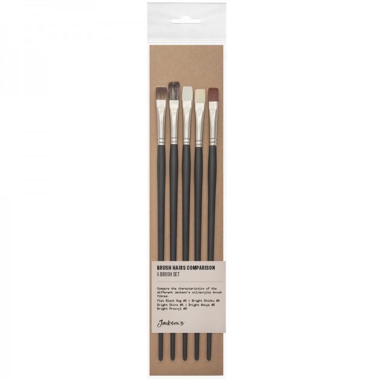 Jackson's : Oil & Acrylic Brush Hair Comparison Set : Set of 5 No.6 Flat Brushes