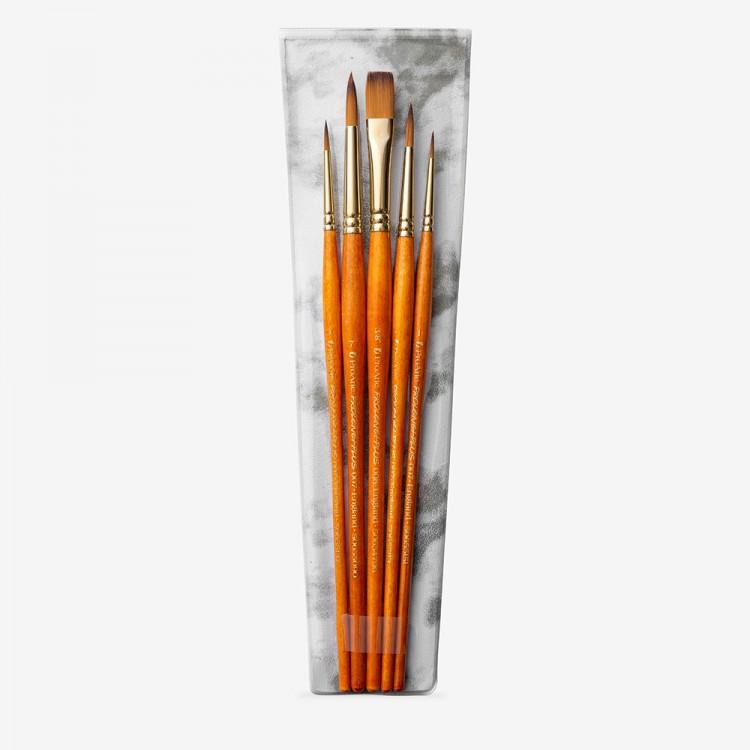 Pro Arte : Prolene Plus : Brush Wallet Set of 5 : 1-3-5-7 Round & 3/8 One Stroke